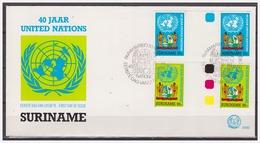 Surinam / Suriname 1985 FDC 92 BPA United Nations Vereinten Nationen Nations Unies Gutterpair - Suriname