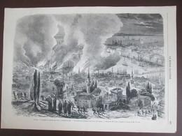 Gravure  1870 TURQUIE CONSTANTINOPLE   Incendie   Du Quatier De Péra - Vieux Papiers