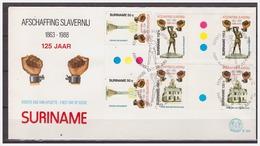 Surinam / Suriname 1988 FDC 124 BPA Afschaffing Slavernij Slavery Sklaverei Esclavage Gutterpair - Suriname