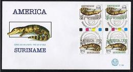 Surinam / Suriname 1993 FDC 168 BPA UPAEP Krokodil Crocodile Krokodil Gutterpair - Suriname