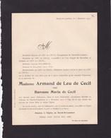 HERCK-SAINT-LAMBERT Baronne Maria De CECIL épouse Armand De LEU De CECIL 55 Ans 1912 COX HALBRECQ - Obituary Notices