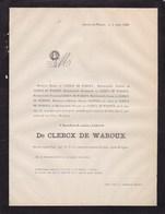 Château De WAROUX ALLEUR Charles-Louis De CLERCX De WAROUX 47 Ans 1868 Famille POSWICK - Obituary Notices