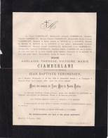 MUNSTER BEVEREN WAAS Adélaïde CIAMBERLANI Veuve Jean-Baptiste VERSMESSEN 1828-1893 De HEUSCH - Obituary Notices