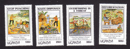 Uganda, Scott #1276-1279, Mint Hinged, Environmental Protection, Issued 1994 - Oeganda (1962-...)