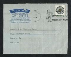 Singapore 1974 Slogan Postmark Air Mail Postal Used Cover Aerogramme Singapore To Pakistan Flower Flowers - Singapore (1959-...)
