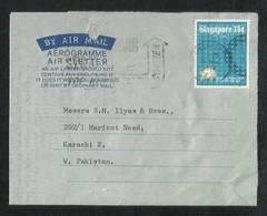 Singapore 1974 Slogan Postmark Air Mail Postal Used Cover Aerogramme Singapore To Pakistan UPU U P U - Singapore (1959-...)