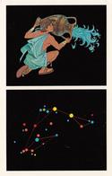 Astronomy - Aquarius Constellation - Very Nice Illustration - Unused - VG Condition - 2 Scans - Astronomy