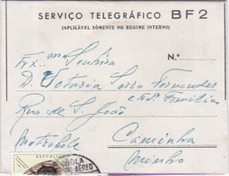 PORTUGAL ANGOLA -  AIR MAIL COVER  - AEROGRAME - SERVIÇO TELEGRÁFICO - LUANDA - CAMINHA - Angola