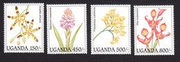 Uganda, Scott #1385-1388, Mint Hinged, Orchids, Issued 1995 - Uganda (1962-...)