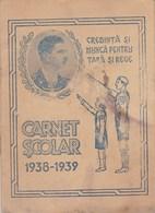 "Romania, 1938, Primary School Notebook / Student Card - Kingdom, ""Straja Tarii"" - Diploma & School Reports"