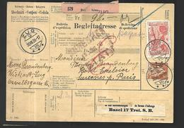 Bulletin D'Expédition De  SUISSE  Par  Voie   Ferroviaire 30 08  1926 - Schweiz