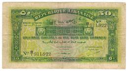 Lebanon 50 Piastres 1942, F+. - Liban