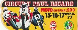 AUTOCOLLANT.  CIRCUIT PAUL RICARD  MOTO JOURNAL 200   1977 - Stickers