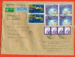 Kazakhstan 1994. Space. Registered Envelope Passed The Mail Kazakhstan-USA. - Kazakhstan