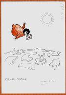 M656 TAAF Rare Dessin Paul-Emile VICTOR TERRE ADELIE Antartique AGENCE POSTALE Patrouilleur ALBATROS  1985 - Künstlerkarten