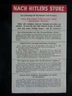 WWII WW2 Tract Flugblatt Propaganda Leaflet In German, PWE G Series/1942, Code G.39, NACH HITLERS STURZ , Type I (red) - Old Paper