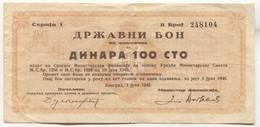 Serbia / Yugoslavia, WW2, 1943. Belgrade, Državni Bon, Coupon Ticket, Staatshaftung - Tickets - Vouchers