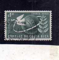 COSTA RICA 1950 AIR MAIL POSTA AEREA AEREO UPU COLONES 1col USATO USED OBLITERE' - Costa Rica