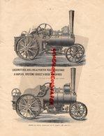 LOCOMOTIVE AVELING & PORTER POUR LABOURAGE A VAPEUR-AGRICULTURE TRACTEUR-CULKTIVATEUR-CHARRUE-WAGON LIT - Documents Historiques