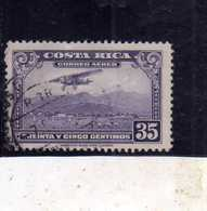 COSTA RICA 1952 1953 AIR MAIL POSTA AEREA AEREO MAIL PLANE ABOUT TO LAND CENT 35c USATO USED OBLITERE' - Costa Rica