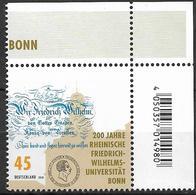 2018 Allem. Fed.  Deutschland Mi.  3360 **MNH EOR   200 Jahre Rheinische Friedrich-Wilhelm-Universität, Bonn - [7] Repubblica Federale