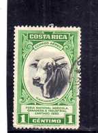 COSTA RICA 1950 AIR MAIL POSTA AEREA AEREO Feria Nacional Agricola Ganadera E Industrial Cartago BULL CENT. 1 USATO USED - Costa Rica