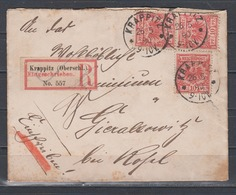 Dt.Reich Geschnittener RZ Krappitz(Oberschl.) Auf Briefchen 3x 47ab Krappitz/26.5.90 Mit Ak-o Gnadenfeld - Lettres & Documents