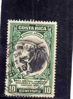 COSTA RICA 1950 AIR MAIL POSTA AEREA AEREO Feria Nacional Agricola Ganadera E Industrial Cartago BULL CENT.10 USATO USED - Costa Rica
