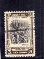 COSTA RICA 1950 AIR MAIL AEREA AEREO Feria Nacional Agricola Ganadera Industrial Cartago PINEAPPLE CENT. 3 USATO USED - Costa Rica