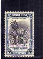 COSTA RICA 1950 AIR MAIL AEREA AEREO Feria Nacional Agricola Ganadera Industrial Cartago PINEAPPLE CENT. 65 USATO USED - Costa Rica