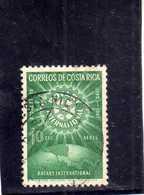 COSTA RICA 1956 AIR MAIL POSTA AEREA AEREO ROTARY INTERNATIONAL 50th ANNIVERSARY CENT. 10c USATO USED OBLITERE' - Costa Rica