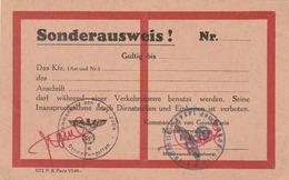 Sonderausweis Du Kommandant Von Gross Paris. (document Pour Accréditation.) Juin 1944. - Vieux Papiers