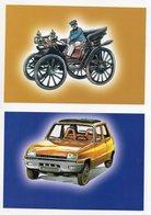DT192D DEUX IMAGES COURSE AUTO AUTOMOBILES VOITURES TRANSPORT PAPIER GLACE DIM 19X13 RENAULT - Vieux Papiers