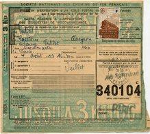 FRANCE BULLETIN D'EXPEDITION D'UN COLIS POSTAL AVEC OBLITERATION CANTOIN 4-8-43 AVEYRON - Cartas
