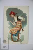 Original Postcard Bandit Women Letter O  - Unkown Artist -  Early 20th Century - Ilustradores & Fotógrafos
