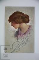 Original Postcard Women Portrait Illustration  - Ed. F & C. M. 1021 - Illustrator Borgognoni - Ilustradores & Fotógrafos