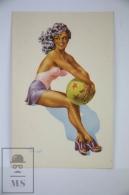 Original Postcard Pin Up Women Holding Star Ball  - Illustrator Andre Bermond - Pin-Ups
