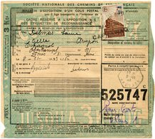 FRANCE BULLETIN D'EXPEDITION D'UN COLIS POSTAL AVEC OBLITERATION GELLE 8-11-43 AVEYRON - Cartas