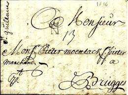 LAC De NANTES Cachet-N  Couronné  Pour BRUGES - 1716 - - Marcophilie (Lettres)
