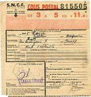 FRANCE BULLETIN D'EXPEDITION D'UN COLIS POSTAL AVEC OBLITERATION GELLE 18-11-43 AVEYRON - Cartas