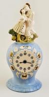 Cca 1900 Figurális Asztali óra (nem M?ködik), Kézzel Festett Mázas Kerámia, Jelzés Nélkül, Kopott, M: 40 Cm - Ceramics & Pottery