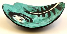 Iparm?vészeti Vállalatos Gorka Lívia Halas Tálka, Mázas Kerámia, Jelzett, Apró Kopásokkal, 15×12×5,5 Cm - Ceramics & Pottery