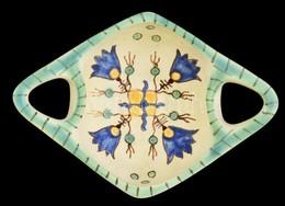 Iparm?vészeti Vállalatos Gorka Füles Tálka, Mázas Kerámia, Jelzett, Apró Kopásokkal, 17,5×12,5×6 Cm - Ceramics & Pottery