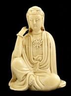 Kínai Kuan Yin, A Legf?bb Oltalmazót ábrázoló Mázas Kerámia Figura. Jelzett, Hibátlan. / Chinese Kuan Yin Ceramic Figure - Ceramics & Pottery