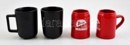 4 Db Kerámia Bögre (közte 2 Db Kisméret? Söröskorsó, Egyiken Kis Lepattanás), 3 Db Hibátlan, M: 10 Cm - Ceramics & Pottery