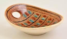Retró Mázas Kerámia Tálka, Jelzés Nélkül, Hibátlan, 16×13 Cm - Ceramics & Pottery