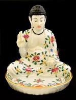 Herendi Buddhás Tál, Kézzel Festett, Jelzett (koronás), Nagyon Apró Máz Hibával, M:15,5 Cm,  14,5×14,5 Cm - Ceramics & Pottery
