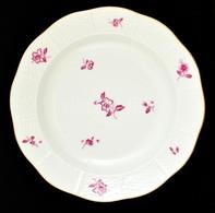 Herendi Virágmintás Tányér, Kézzel Festett, Jelzett (koronás), Kopásokkal, D: 24,5 Cm - Ceramics & Pottery