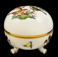 Herendi Rothschild Mintás Bonbonier, Kézzel Festett, Hibátlan, Jelzett, D: 7 Cm - Ceramics & Pottery