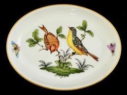 Herendi Rothschild Mintás Porcelán Tálka, Kézzel Festett, Jelzett, Hibátlan, 12×9 Cm - Ceramics & Pottery